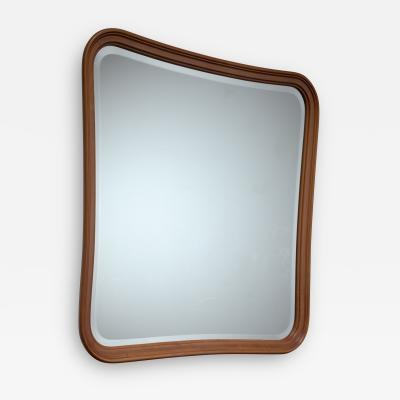 Oak slightly concave square wall mirror