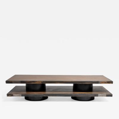 Oakwood Coffee Table with Metal Trim