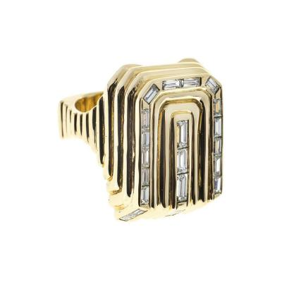 Oblong 3 D Baguette Diamond Gold Ring