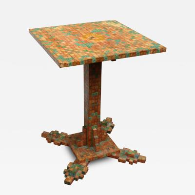 Obsessively Stamp Decorated Folk Art Table American Modernist