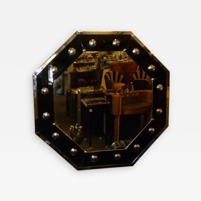 Octagon Shaped Art Deco Mirror Black Silver Chrome