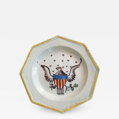 Octagonal American Eagle Pearlware Plate
