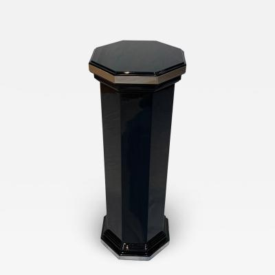 Octagonal Art Deco Column Pedestal Black Lacquer and Trims France circa 1930