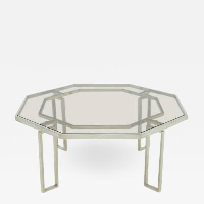 Octagonal Coffee Table with Metal Base and Glass Top 1960s
