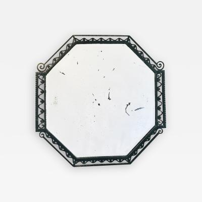 Octagonal Forged Iron Beveled Wall Mirror