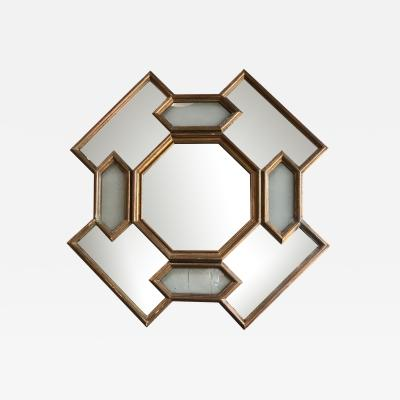Octagonal Geometrical Wood Wall Mirror Italy 1950s