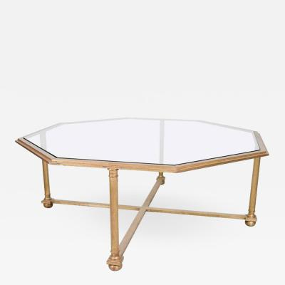 Octagonal Gilt Coffee Table with Glass Top
