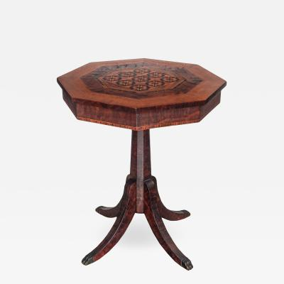 Octagonal Marquetry Pedestal Table