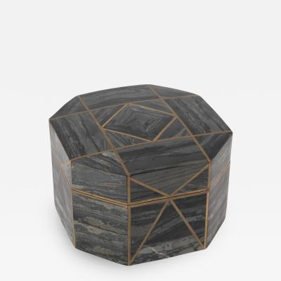 Octagonal gray marble box with brass inlays circa 1980s