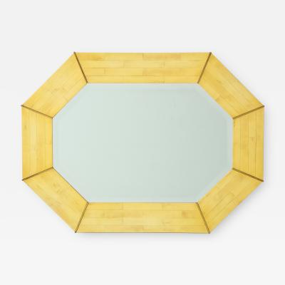 Octagonal mirror with pen shell mosaic decoration and chrome details