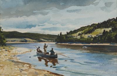 Ogden Pleissner Salmon Fishing on the Restigouche