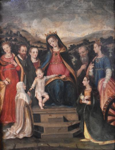 Oil Colonial School S 17th Century Virgin with Child and Border of Angels