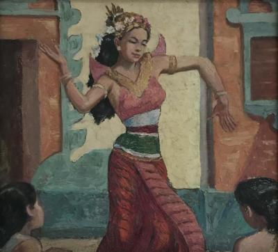 Oil Knife Painting of an Indian Dancer