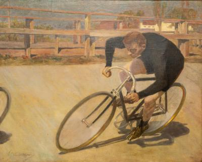 Oil Painting Bicycle Racer