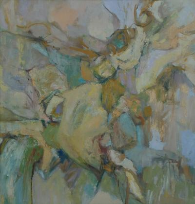 Oil on Canvas American school mid century abstract expressionist painting