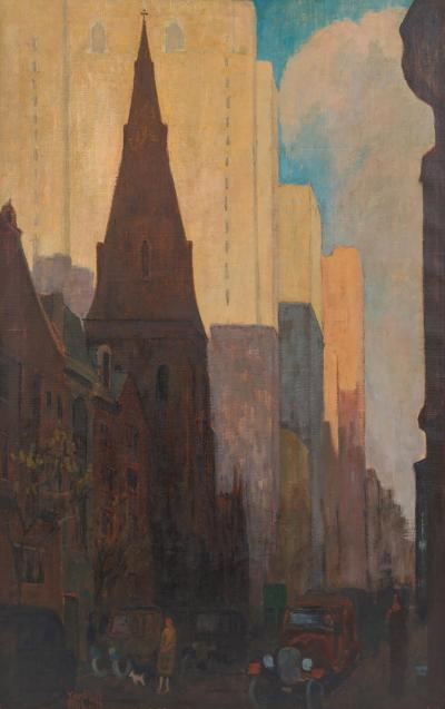 Oil on Canvas Painting of St Marks Church in Philadelphia by Yarnall Abbott