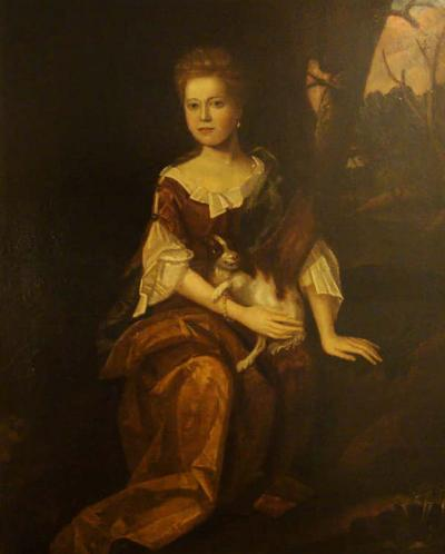 Oil on Canvas Portrait of Marjorie Muckleston with Her Dog