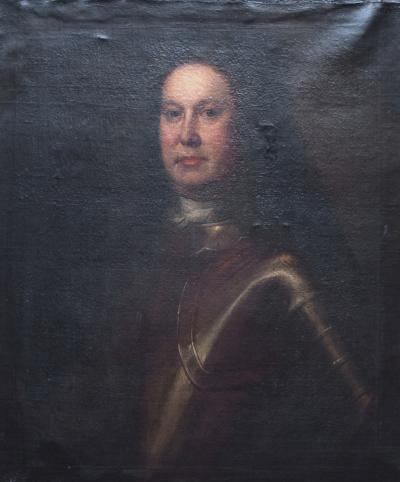 Oil on Canvas Portrait of a Man in Armour