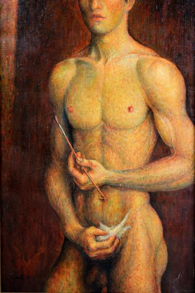 Oil on Canvas of a Young Male Nude with Paint Brush in a White Gold Leaf Frame