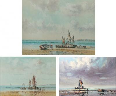 Oil on canvas Laszlo Ritter Hungary 1937 2003 3 beach scene paintings