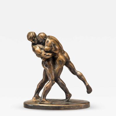 Ok nd Konstn r Ok nd Konstn r Swedish Patinated Bronze Sculpture of Wrestlers