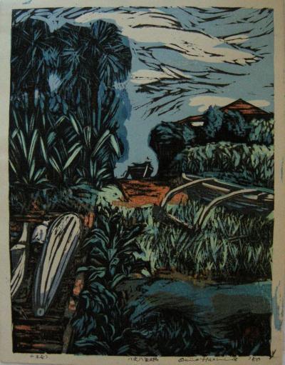 Okiie Hashimoto Mid Century Woodblock Print Hachijo Yaene by Okiie Hashimoto