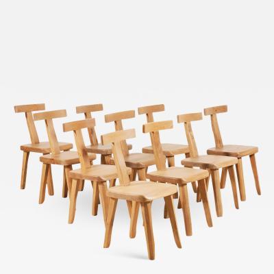 Olavi H nninen Olavi H nninen for Mikko Nupponen Set of 10 Elm Chairs Finland 1950