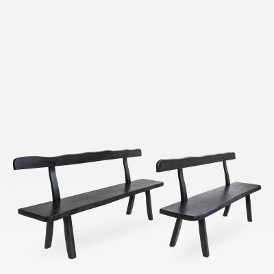 Olavi H nninen Pair of Ebonized Elm Benches by Olavi Hanninen circa 1950 Finland
