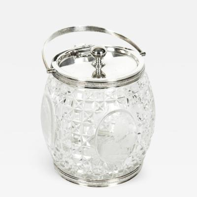 Old English Cut Crystal Silver Plate Ice Bucket