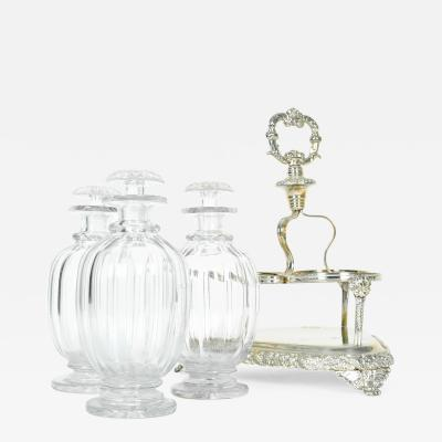 Old English Sheffield Silver Plated Three Cut Crystal Decanter Set