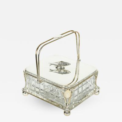 Old English Silver Plated Holder or Cut Crystal Caviar Dish