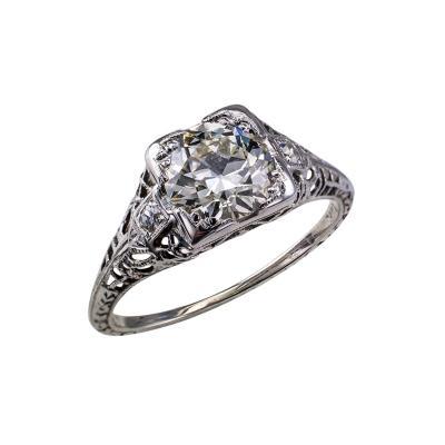 Old European Cut 1 26 Carats K VS1 Art Deco Engagement Ring