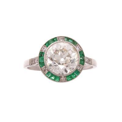Old European Cut 1 98 Carat Diamond Emerald Platinum Engagement Ring