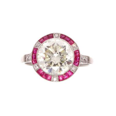 Old European Cut 2 81 Carat Diamond Ruby Platinum Engagement Ring