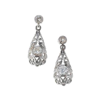 Old European Cut Diamond Tear Dangle Platinum Earrings