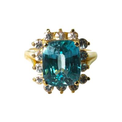 Old Hollywood Intense Glittering Natural Zircon Sapphire Gold Ring