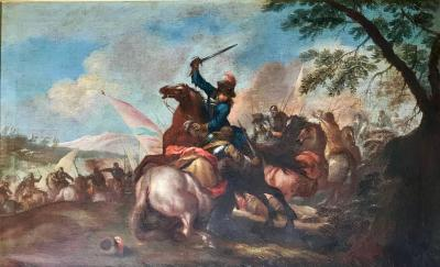 Old Master Painting Flemish 17th Century Cavalry Charge Battle Scene