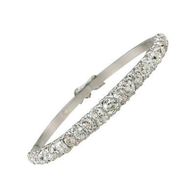 Old Mine Cut Diamond Bangle Bracelet