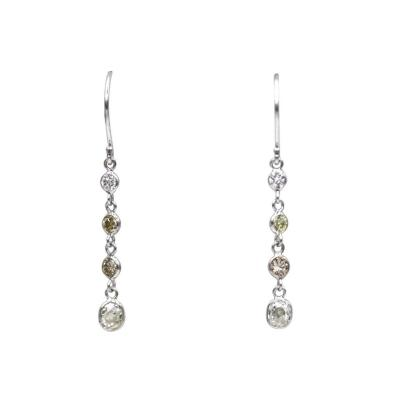 Old Mine Diamond in White Canary Champagne Earrings 14KT White Gold Earrings