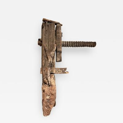 Old Rustic Carpentry Tool Mesquite Wood VICE Mexico Jalisco Ranch 1940s