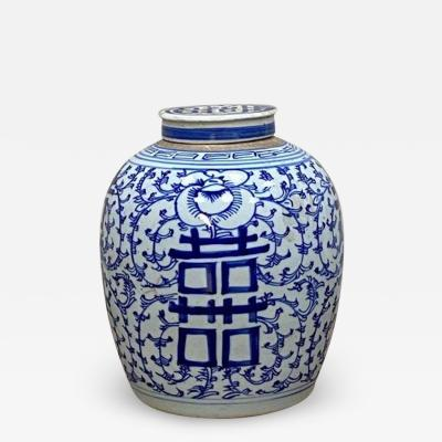 Old big blue and white ginger pot