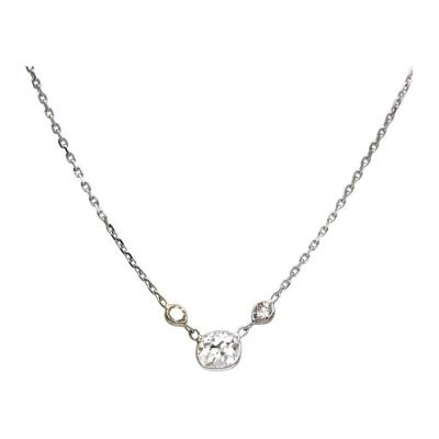 Old mine Diamond and Champagne Diamond Necklace 14KT White Gold