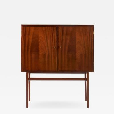 Ole Wanscher Elegant Danish 2 Door Cabinet in Mahogany with Brass Fittings 1950s
