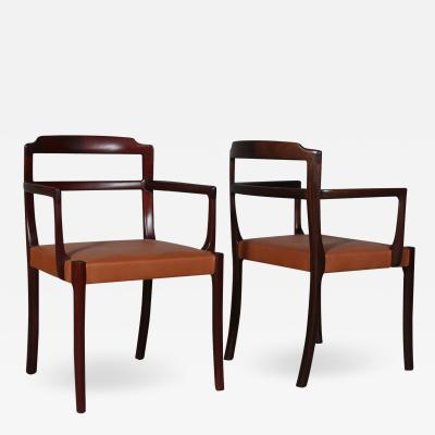 Ole Wanscher Ole Wansche for AJ Iversen mahogany armchairs