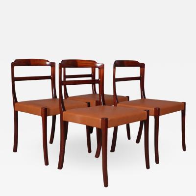 Ole Wanscher Ole Wanscher AJ Iversen four chairs dining chairs 1960s 4