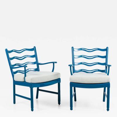 Ole Wanscher Ole Wanscher Blue Armchairs for Fritz Hansen