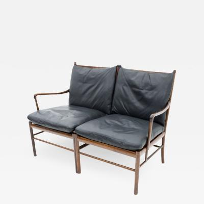 Ole Wanscher Ole Wanscher Colonial Settee in Rosewood and Black Leather