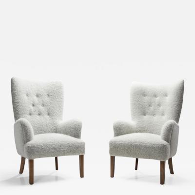 Ole Wanscher Ole Wanscher Model 1673 High Back Chairs for Fritz Hansen Denmark 1940s