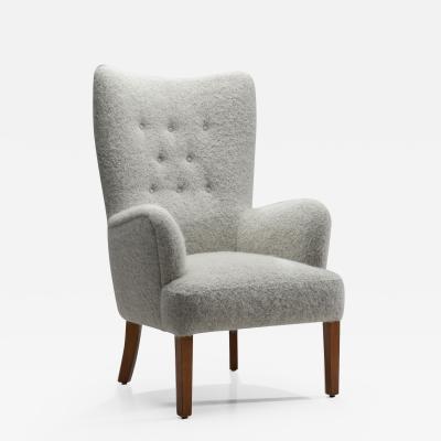 Ole Wanscher Ole Wanscher Model 1673 Highbacked Easy Chair for Fritz Hansen Denmark 1940s