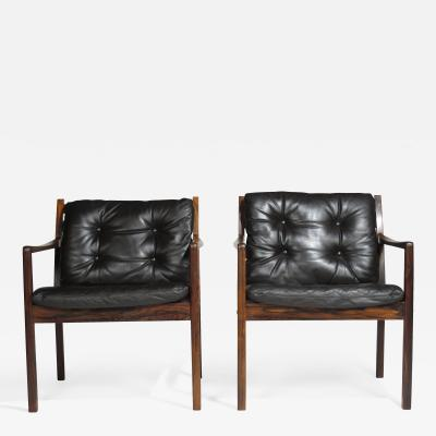 Ole Wanscher Ole Wanscher Rosewood Lounge Chairs in Original Leather